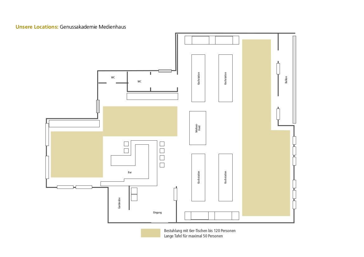 Kochstudio grundriss  Genussakademie Medienhaus - Genussakademie